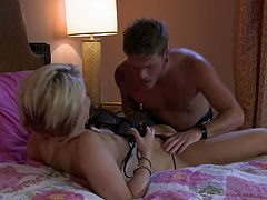 Salacious blonde Ash Hollywood is playing dirty games with some man indoors. They have awesome oral sex and then fuck doggy style and in side-by-side positions.