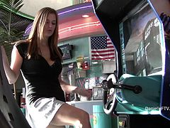 Stunning girl lifts a skirt up to show her shaved pussy and ass in a diner. This girl also shows her boobs at the parking lot.