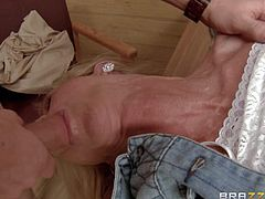 Milf Simone Sonay is a sexy country woman in white boots and short jean skirt. She sucks one dick while getting her pussy drilled by another rod with her white thong panties on. Shes a slut who cant get enough.
