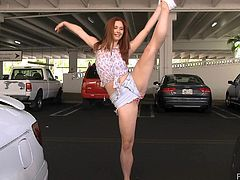 Parking lot experience with a kinky redhead