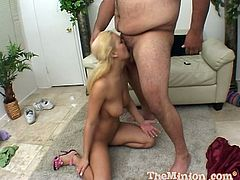 She is having an oral with a fat and nasty dude, covered in hair all over. And his cock is not that big, though, honey will be taking it in her mouth anyway.