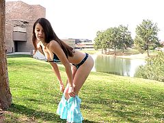 Beautiful brunette babe flashes her nice tits and also lifts a skirt up to show her booty. After some time Anessa strips off her clothes and walks naked in the park.