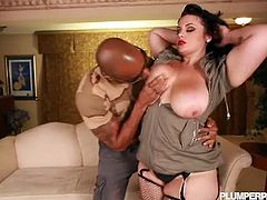 Checkout this sexy brunette bbw with nice juicy huge tits and big ass, with her black lover.This horny black hunk plays with that huge melon tits and then shoves his huge cock and fucks her cunt hard and deep