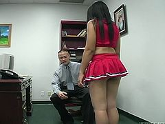 Get a load of this fetish scene where the Lydia Love plays with this guy's cock in the middle of an office while dressed as a cheerleader.