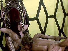 Guys Fucks a Fishnet Wearing Princess and Her Hot Ass Handmaiden