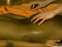 The erotic massage performed by this professional masseuse is highly rewarding sexually speaking as well. Her client enjoys her touches all over her sexy body.