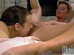 Horny blonde milf lets her man eat her shaved pussy. Then the guy pounds the slut's butt from behind and makes her suck his weiner till it explodes with cum.