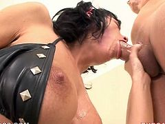 Dirty wench goes wild in hardcore porn video. Hillary's make-up messes up while she performs deepthroat blowjob. Brutish stud thrusts his dick deep until she starts gagging.