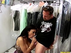 Sexy chick gives a titjob and a blowjob. Persia lifts her dress up and gets fucked in a standing up position. She also gets nailed in her favorite doggystyle position.