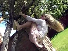 Amazing Alison Angel Plays Half Naked With Trees Outdoors