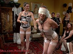 Check out this horny bride and her friend. Now it's time for her to receive her last hardcore bdsm spanking before the wedding!