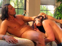 Busty dark-haired bitch Austin Kincaid gives a blowjob to some horny man. Then they fuck in missionary and cowgirl positions and Austin begs the guy to cum in her mouth.