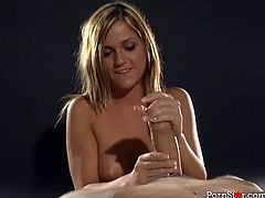 Bubble butt babe McKenzee Miles gives her man one hell of a handjob