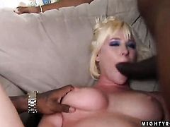 Blonde Naomi Cruise gets her mouth pumped full of ram rod in blowjob action with hot guy