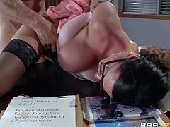 Four-eyed sexy milf Ariella Ferrera with huge boobs is a sexy fuck hungry warden. She gets her needy pussy fucked damn hard by prisoner Johnny Sins in her office. He fucks the shit out of buxom woman.