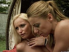 Are you looking for mind blowing sex tube video for free? You are welcome here to enjoy watching three seductive lesbians pleasing each other outdoor.