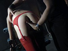 Tied up Tina Blade gets her pussy fondled and fingered by some guy in a basement. This hot chick in red lingerie and stockings also gives a blowjob to her master.