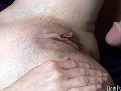 Check out this hardcore scene where the sexy milf Mae Victoria ends up with her big tits covered by semen after being fucked.