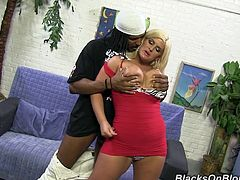 Chubby Julie Cash gets her huge boobs massaged. This Black guy loves suck kind of girls. He fucks Julie in a brutal manner and cums on her face.