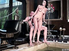 Amber Cox with big hooters just loves to blow and cant say No to horny dude Johnny Sins