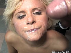 Watch this horny mature blonde spread her legs wide to receive two black cocks in all of her holes after giving them the best blowjob of their entire lives.