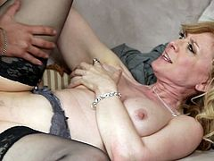 Big tits Nina Hartley loves to play rough while fucking with her step son