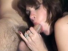 Kay Parker is a full figured babe with big boobs. Two girls licks her wet hairy snatch. Kay gives blowjob and rides that big dick on top before getting fucked missionary style.