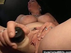 This hot brunette milf is a real slut. She likes to go in the backroom of the sex shop to get a random dick stuffed in her throat.