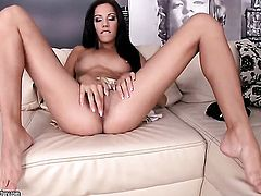 Brunette Anita Pearl strips down to her bare skin for your viewing entertainment