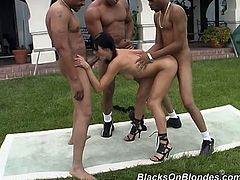 Naughty brunette girl plays with her pussy inside the house. Then she goes to a backyard and has fun with three Black guys. She sucks their big dicks and also gets fucked in both holes.