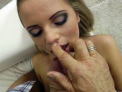 Press play on this hardcore scene where this horny blonde's fucked up her tight asshole by a big cock that makes her moan.