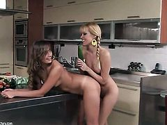 Blonde Sophie Moone enjoys another lesbian sex session with her friend Jessika Lux