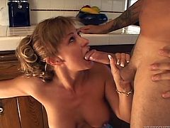 Cute blonde Phyllisha Anne is having fun with some man in the kitchen. She pleases him with a breath-taking blowjob and then they bang in cowgirl position on the floor.