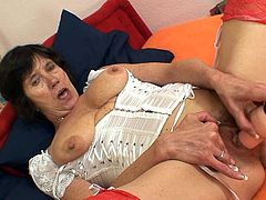 Its impressive how she strokes her cramped cunt during naughty solo