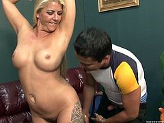 Voluptuous blonde mom stokes hard dick of horny jerk. He has got armpit fetish so he licks her armpits. Then he eats out her pussy.