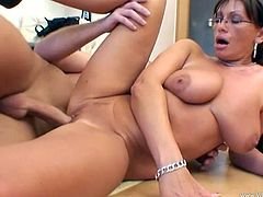 Pandora is a horny milf with immense natural breasts and an amazing ass. Check out this hardcore scene where this mommy's fucked until her mouth's filled by cum.