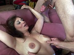 Check out this bisexual video where this horny mature Latina and another share a muscular stud's thick cock in a hot threesome.