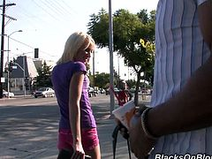 Sweet blonde girl meets a Black guy in the street. She looks like a good girl but in fact she is a slutty whore. Alexia gives a blowjob to the guy in his house and then gets fucked in her pink pussy.