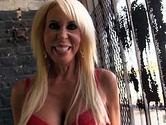 Horny MILF Erica Lauren models some very sexy lingerie then she takes off her bra and shows off her amazing massive melons.