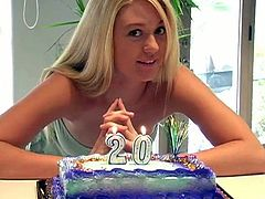 Stunning Alison Angel turns 20 years old. She covers her nipples with a cake and lick it off. She also gets some presents for her birthday. Alison looks very happy.