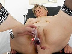 Her cramped and ravished old pussy gets stretched during naughty gyno exam