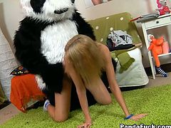Young and naughty chick gets horny while doing her homework. She masturbates and her panda bear sex toy joins the fun and fucks her holes hard.
