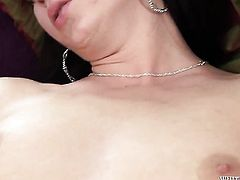 Amazingly hot hoochie and Lara Sweet strips before they caress each other