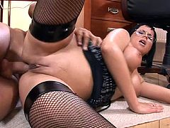 Things turn nasty for this brunette secretary when her boss comes over