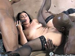 Sexy Ally takes a black cock up her ass and another in her pussy at the same time. She cums so hard she nearly loses her mind.