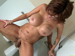 Provocative MILF Joslyn James has got perfectly round silicon boobs. She looks amazingly good and fresh for her age. Sizzling redhead mamma fucks furiously in hardcore XXX porn scene. Check this out.
