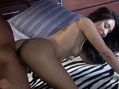 Roxy hooks up with an older guy and ends up on her bed with him thrusting his big cock deep inside her sweet, pink pussy.