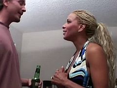 Leah Luv and Rachel Starr are ready to have some fun with a big dicked dude. They start to talk about it and want soon to start sucking on his sclong like nymphos.
