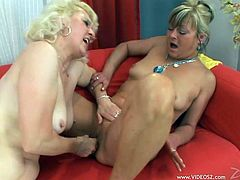 Mature blonde have a great time pleasing each other in camera