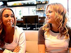 Mary and Scarlet spend their time in a cafe. They talk about some things in front of a camera and also show their boobs.